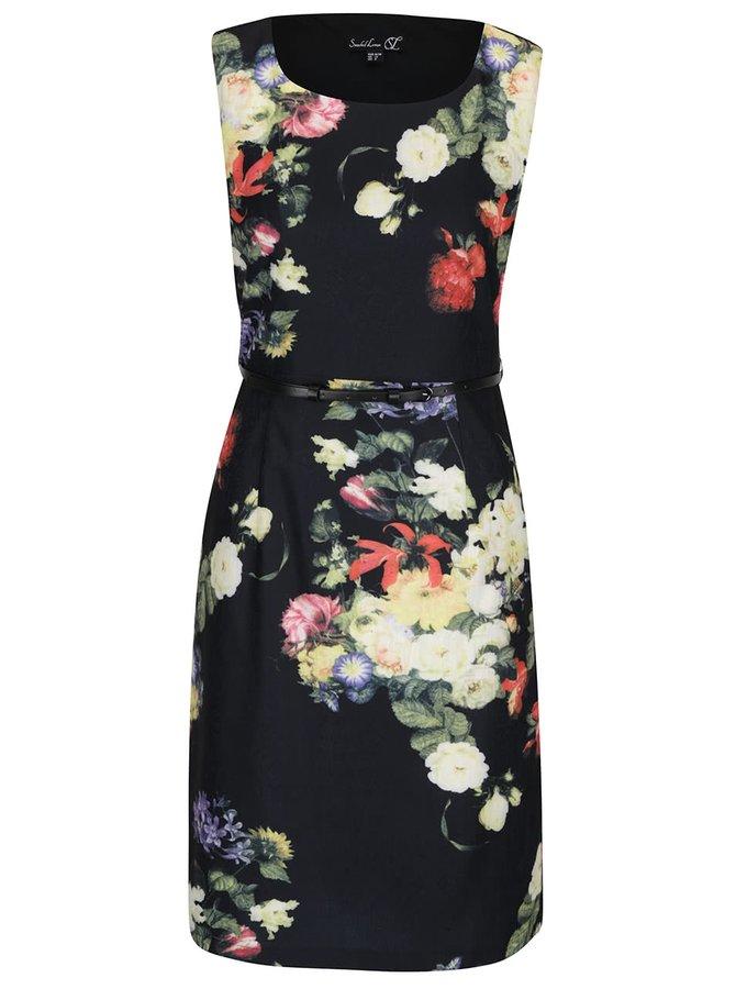 Černé květované šaty s černým páskem Smashed Lemon