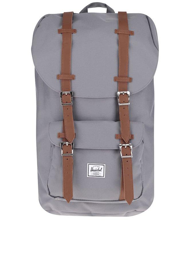 Šedý batoh s hnědými popruhy Herschel Little America