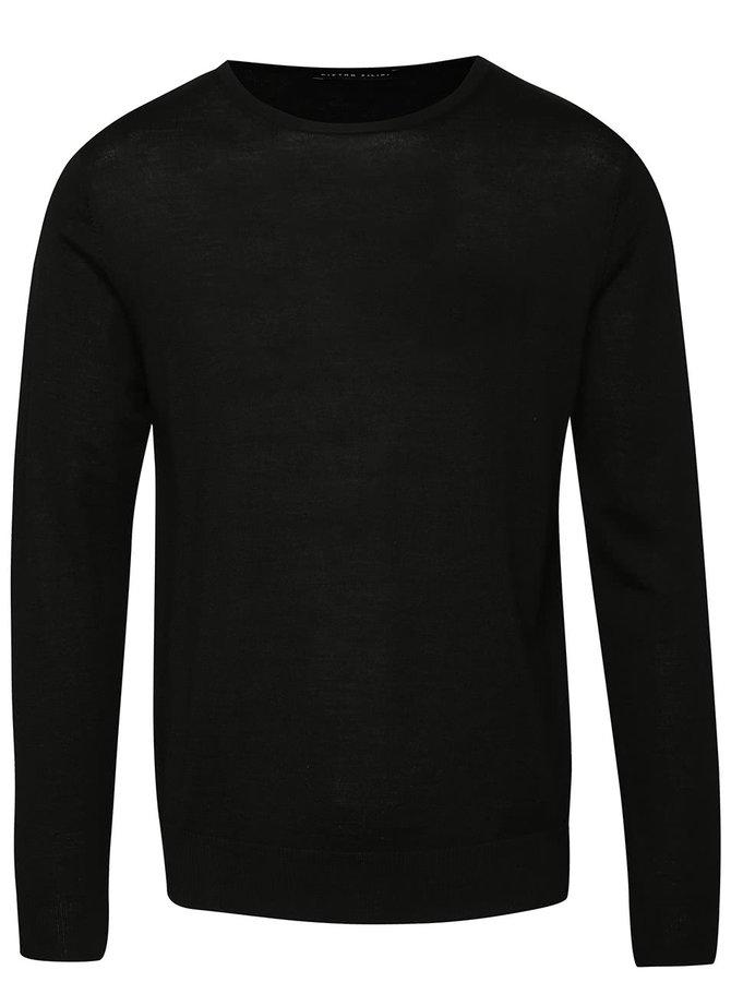 Černý pánský lehký svetr z Merino vlny Pietro Filipi