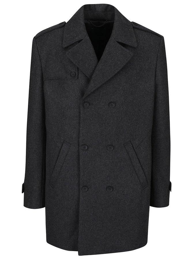 Tmavě šedý vlněný kabát Bertoni