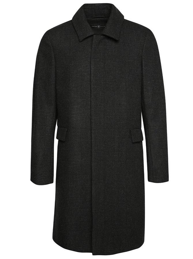 Tmavosivý pánsky vlnený kabát s golierom  Pietro Filipi