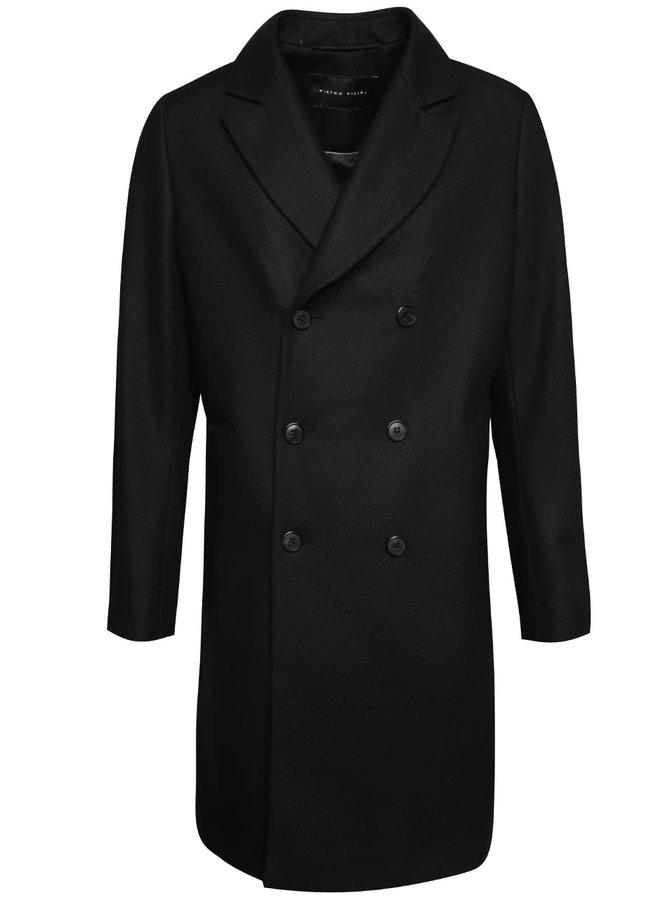 Čierny pánsky vlnený dlhý kabát Pietro Filipi