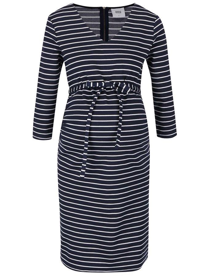 Tmavě modré pruhované těhotenské šaty Mama.licious Blackie