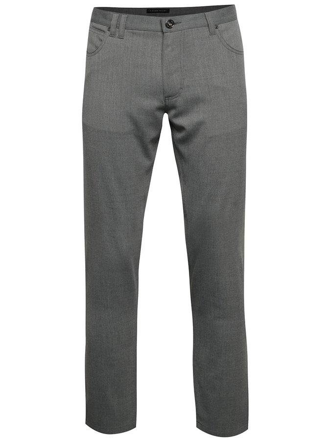 Sivé pánske slim fit nohavice Pietro Filipi