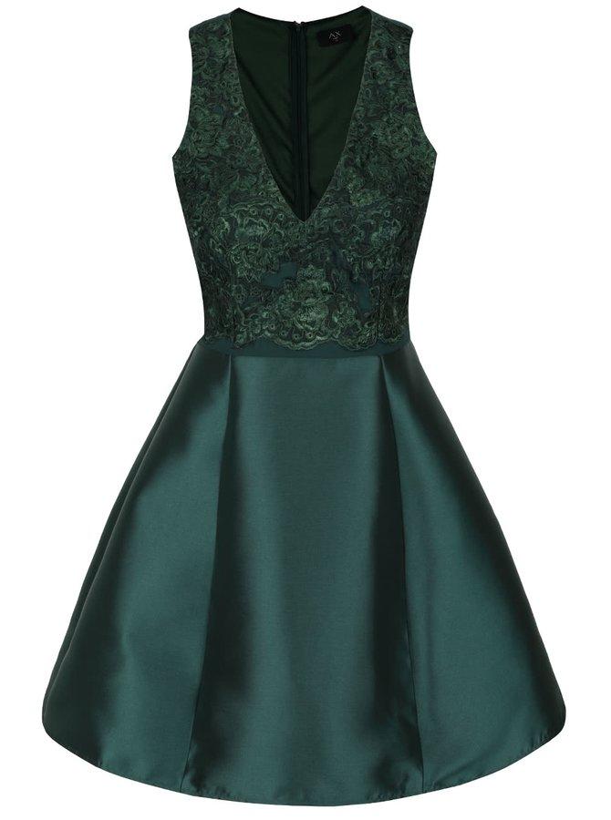 Tmavozelené šaty s čipkou AX Paris