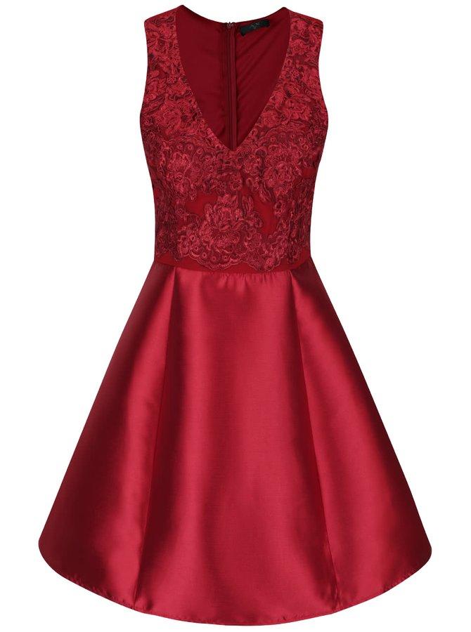 Vínové šaty s krajkou AX Paris