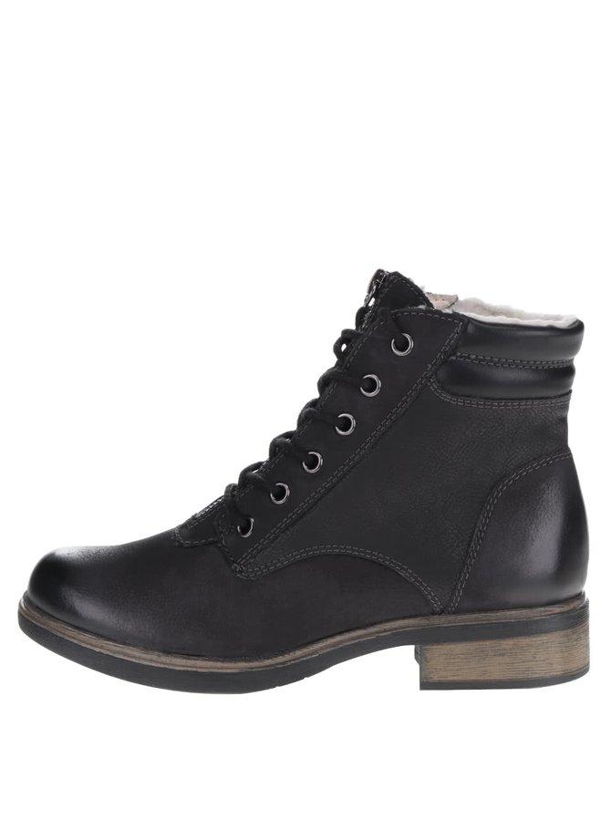 Černé kožené kotníkové boty s vázáním Tamaris