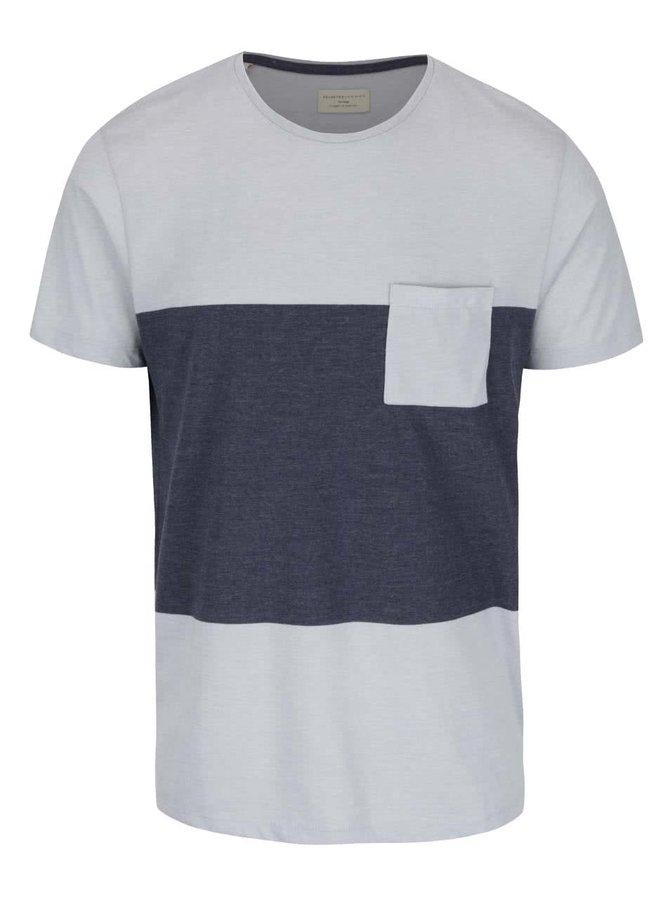 Modro-šedé triko s kapsou Selected Homme Peter