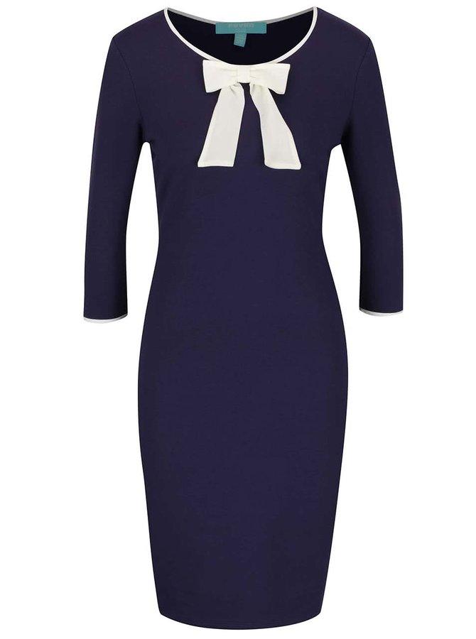 Rochie albastră cu fundă decorativă crem Fever London Michelle