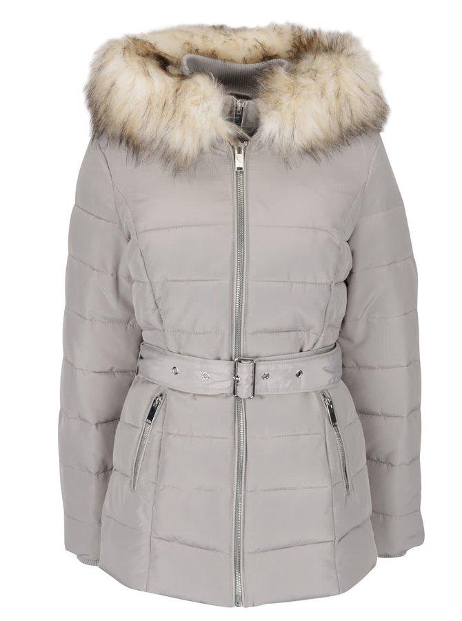 Šedá prošívaná bunda s umělou kožešinou Miss Selfridge