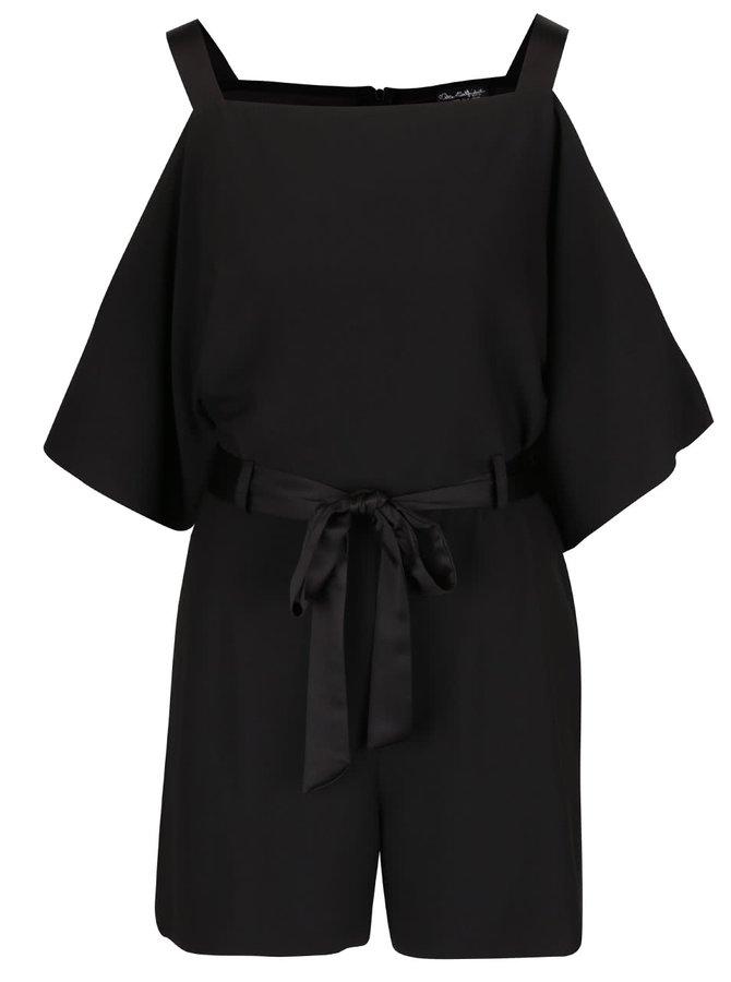 Čierny overal s odhalenými ramenami a zaväzovaním v páse Miss Selfridge