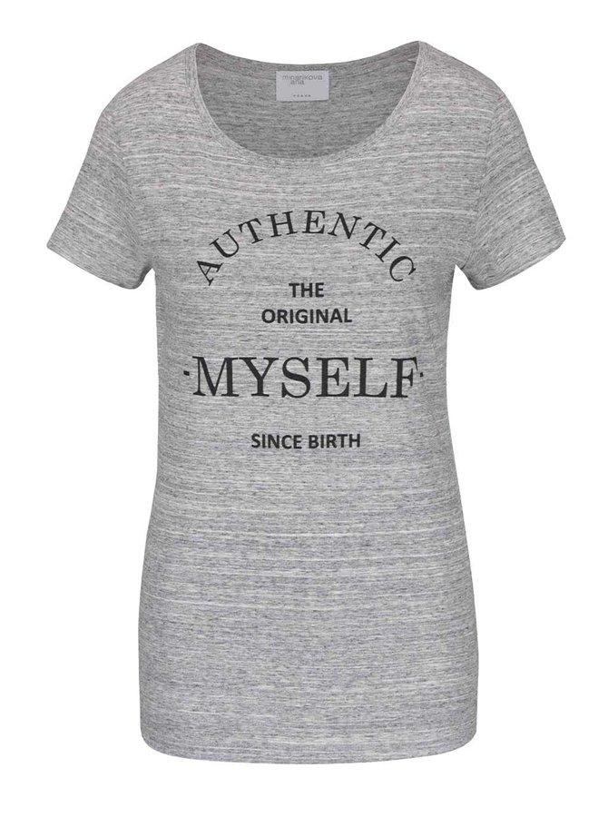 Šedé žíhané tričko s krátkým rukávem a potiskem Jana Minaříková Original Myself