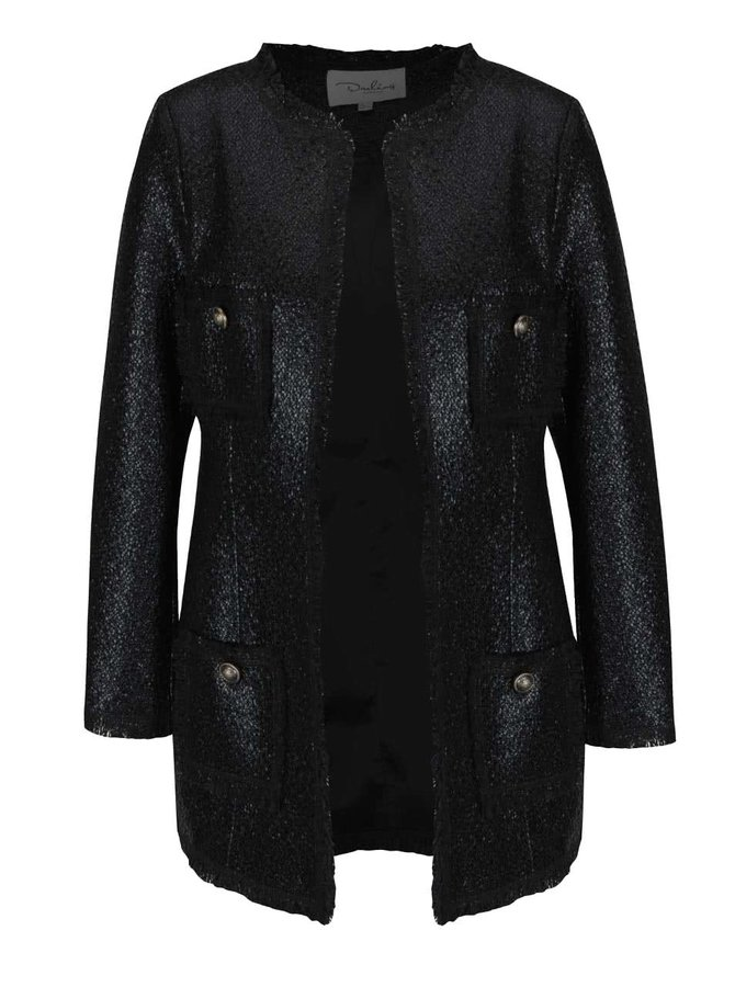 Černý lesklý kabát s kapsami Darling Dulcie