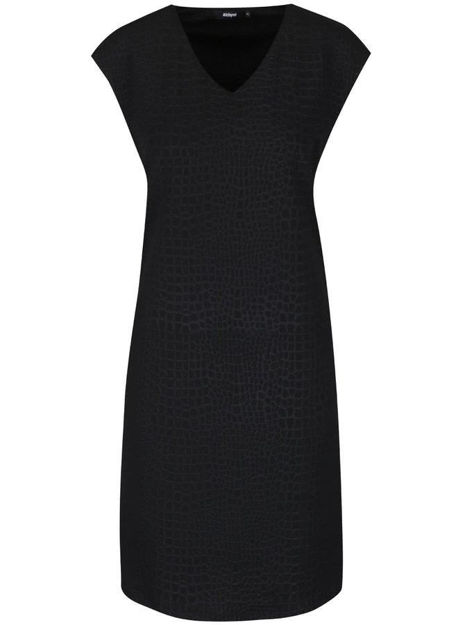 Černé vzorované šaty se zipem Alchymi Adorea