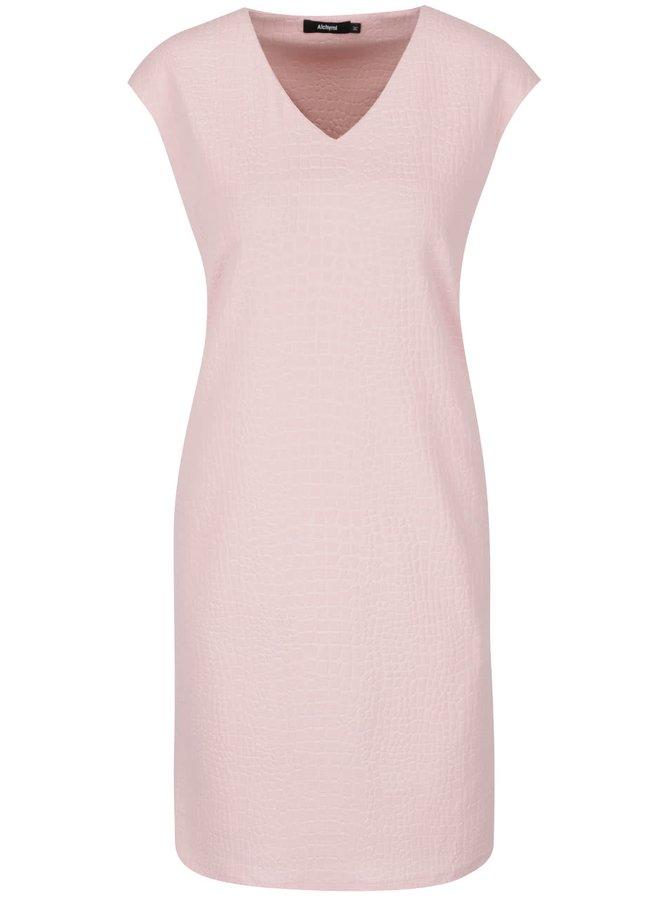 Ružové vzorované šaty so zipsom Alchymi Adorea