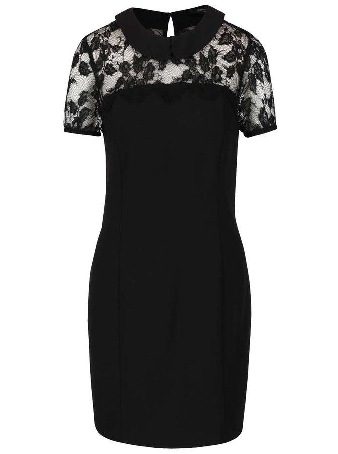 Černé krajkové šaty s límečkem Miss Selfridge