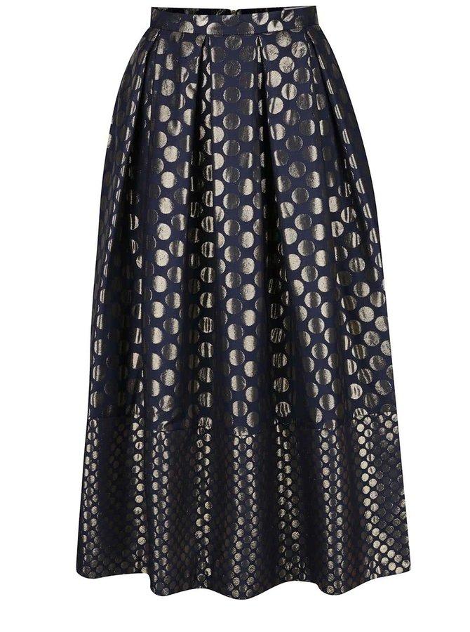 Tmavě modrá skládaná midi sukně s puntíky ve zlaté barvě Closet