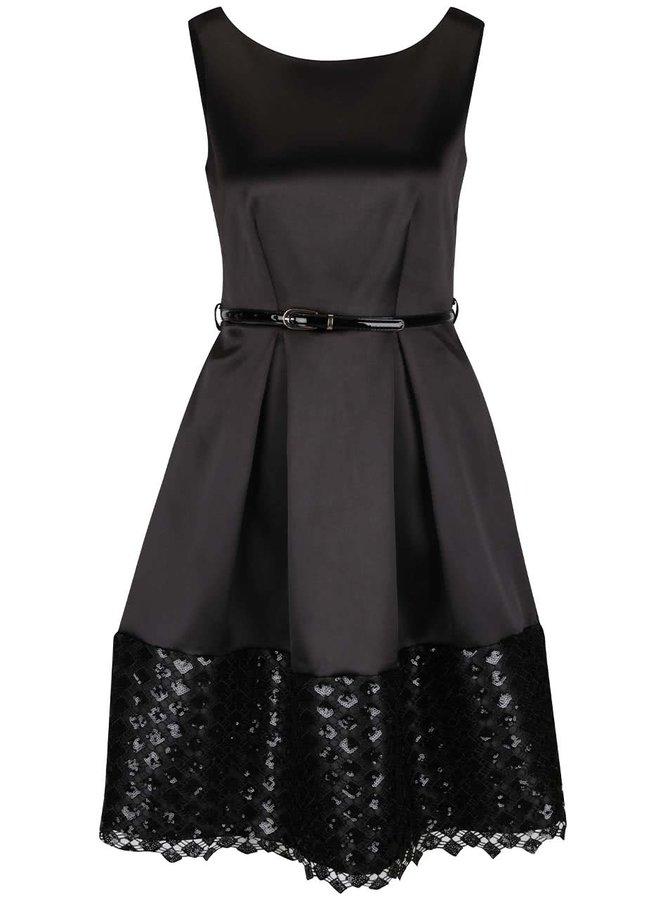 Černé lesklé šaty s páskem a flitrovaným lemem Closet