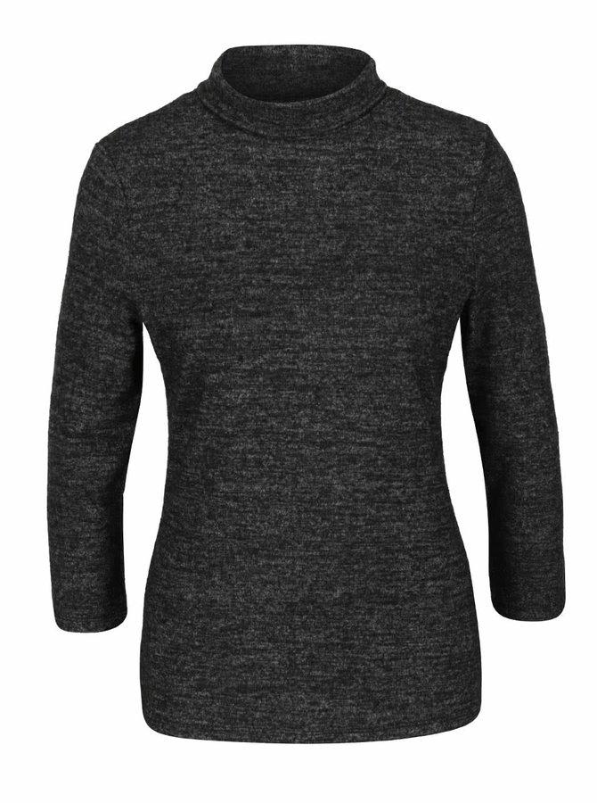 Tmavě šedé žíhané tričko s rolákem a 3/4 rukávy Haily´s Tala