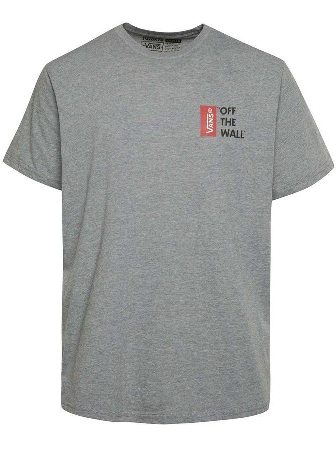 Tmavosivé pánske tričko s potlačou Vans Off the wall