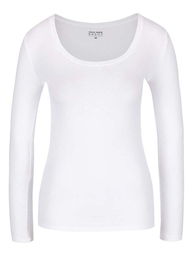 Bílé tričko s dlouhým rukávem a kulatým výstřihem TALLY WEiJL