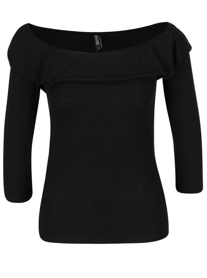 Černé tričko s odhalenými rameny a volány Fanny