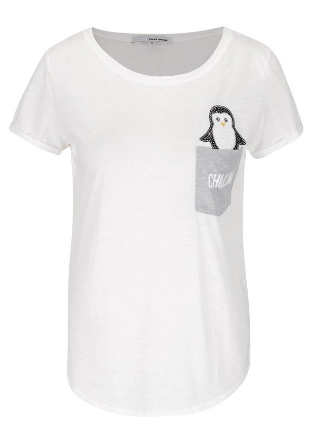 Krémové tričko s kapsou a tučňákem z flitrů TALLY WEiJL