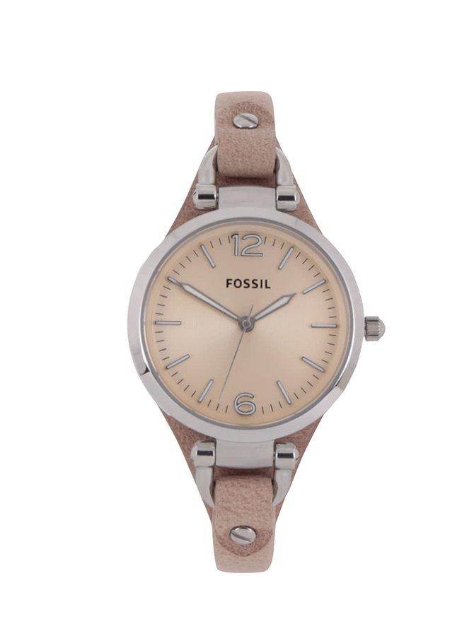Béžové dámské hodinky s koženým řemínkem Fossil Georgia