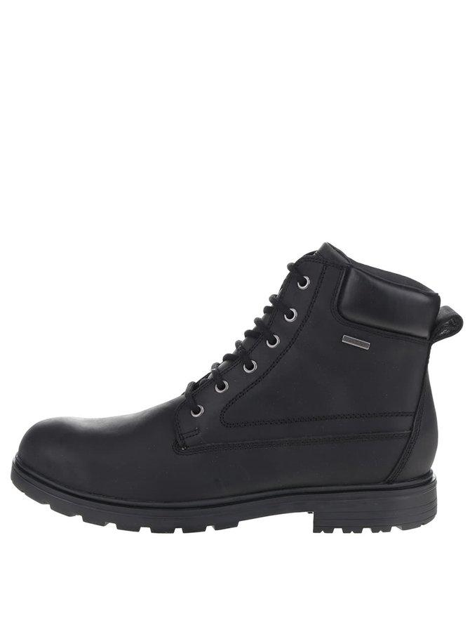 Černé pánské kožené kotníkové boty Geox Akim