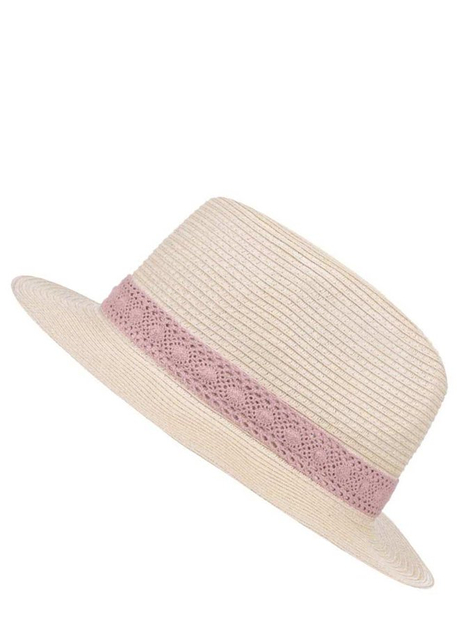 Slaměný klobouk s růžovou háčkovanou stuhou Pieces Bibi