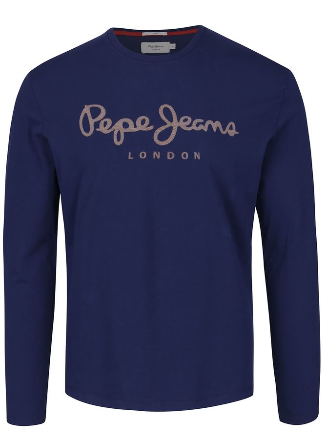 Tmavě modré pánské triko s potiskem a dlouhým rukávem Pepe Jeans Sails