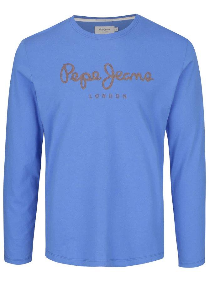 Modré pánské triko s potiskem a dlouhým rukávem Pepe Jeans Sails