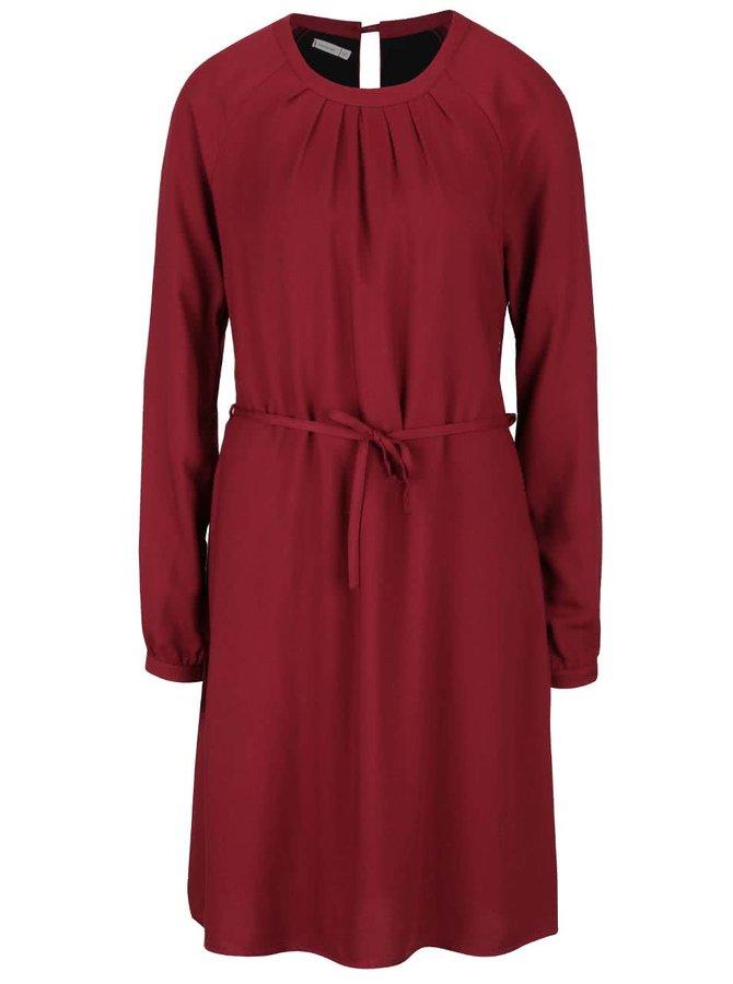 Vínové šaty s dlouhým rukávem Lavand