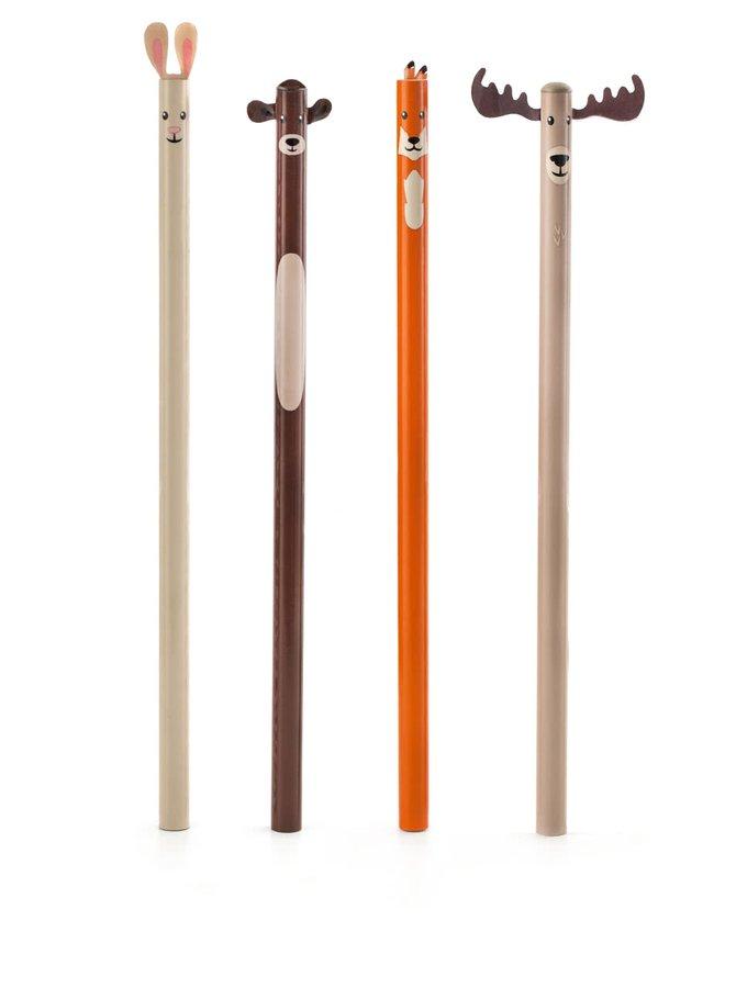 Sada čtyř tužek s motivy lesních zvířat Kikkerland