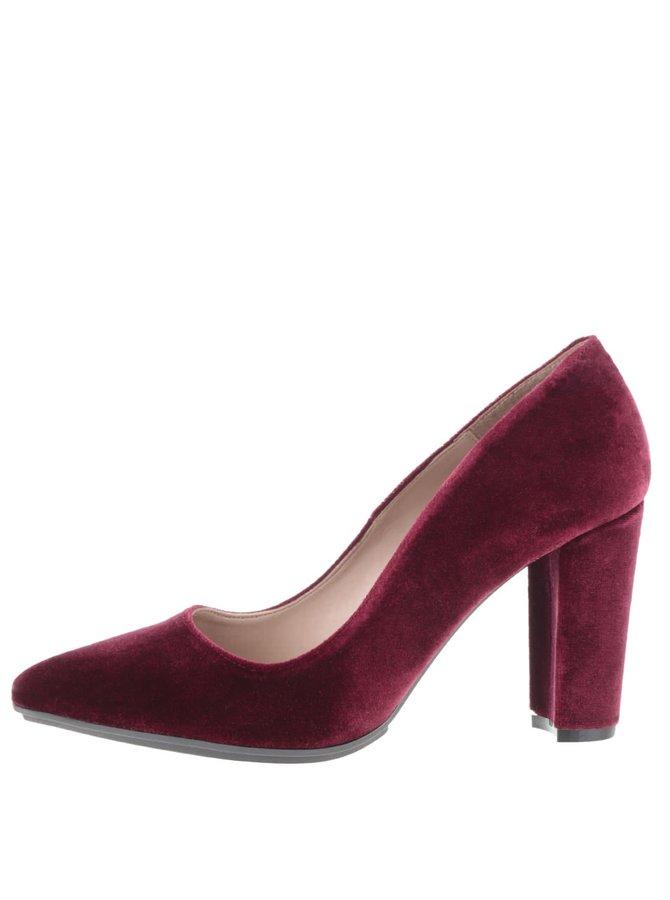 Pantofi roșu Bordeaux cu aspect de piele întoarsă OJJU