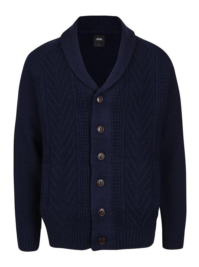 Tmavě modrý propínací svetr Burton Menswear London