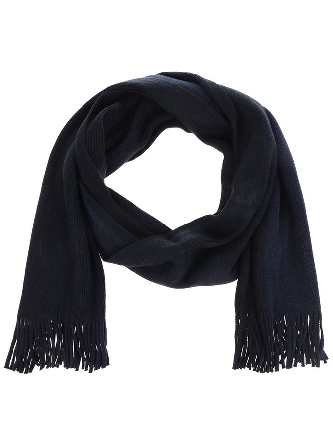Černo-modrá šála s třásněmi Burton Menswear London