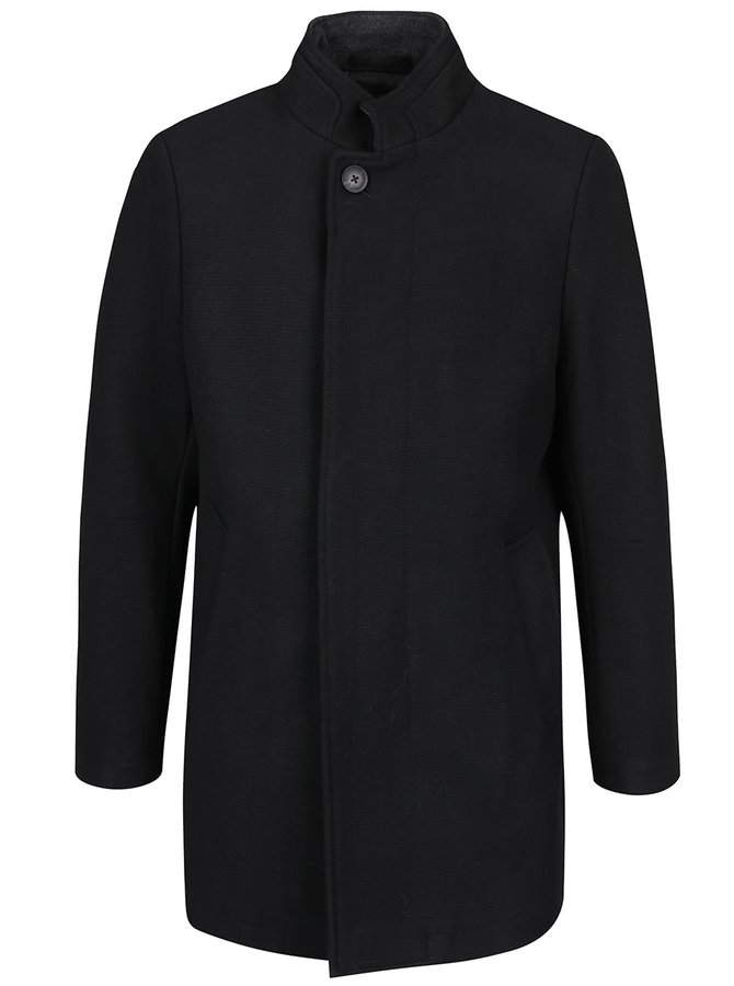 Černý vlněný kabát Burton Menswear London
