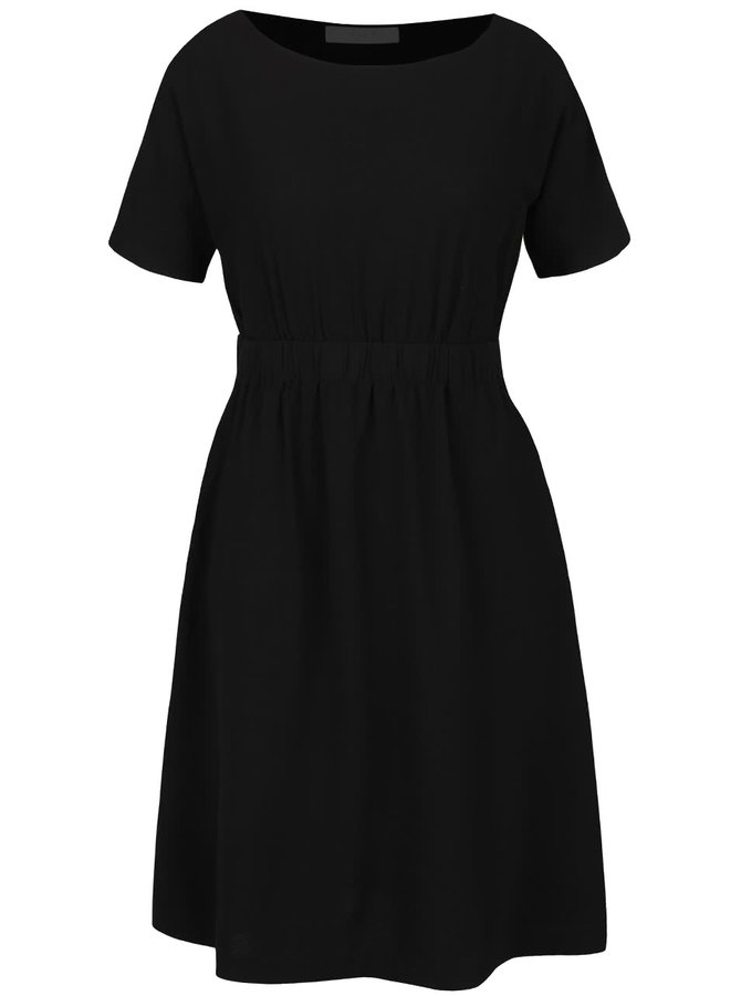 Čierne šaty s gumou v páse VILA Calt