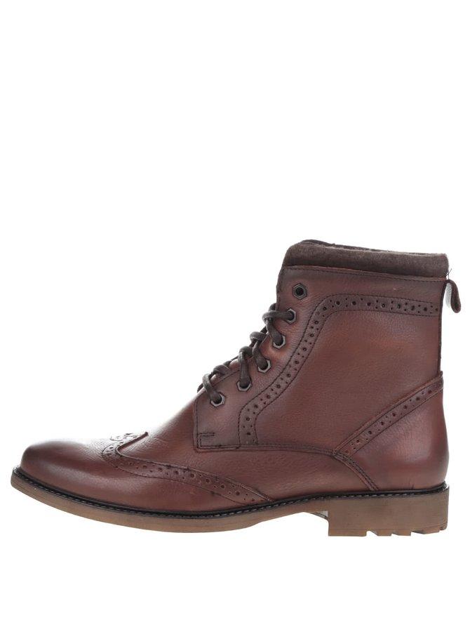 Hnedé kožené členkové brougue topánky Burton Menswear London Penley