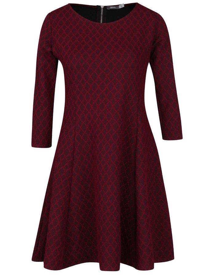 Vínové vzorované šaty s 3/4 rukávy ZOOT