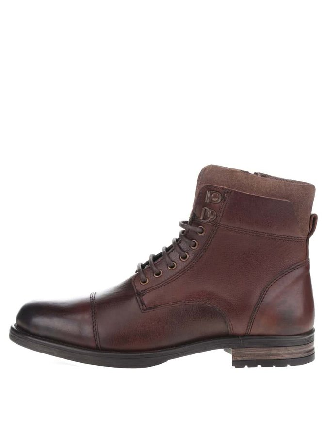 Hnědé kožené kotníkové boty Burton Menswear London Pager