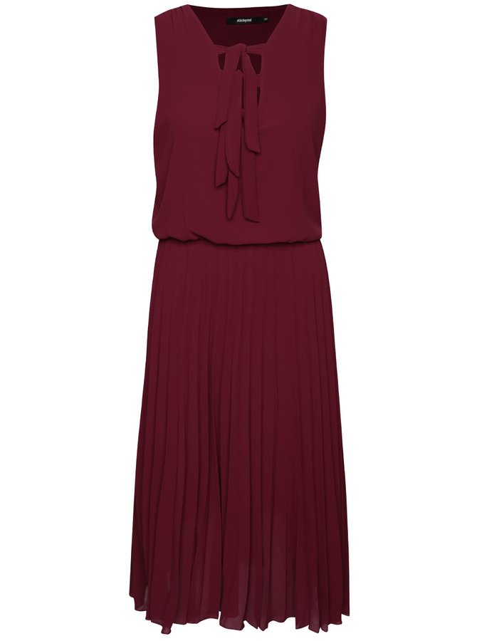 Vínové šaty s plisovanou sukňou Alchymi Lavonne