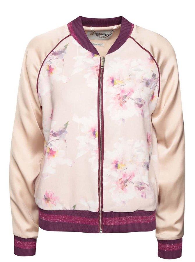 Světle růžový dámský bomber s motivem květin Rich & Royal