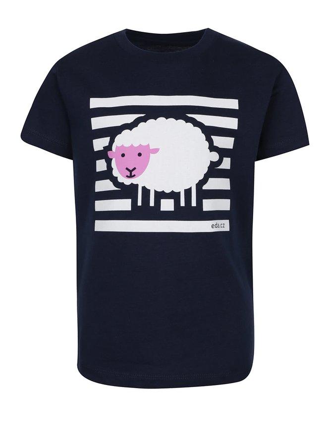 """""""Dobré"""" tmavě modré tričko s potiskem ovce pro EDU"""
