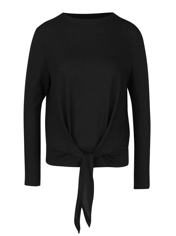 Černé tričko s uzlem a dlouhým rukávem ONLY Rebel