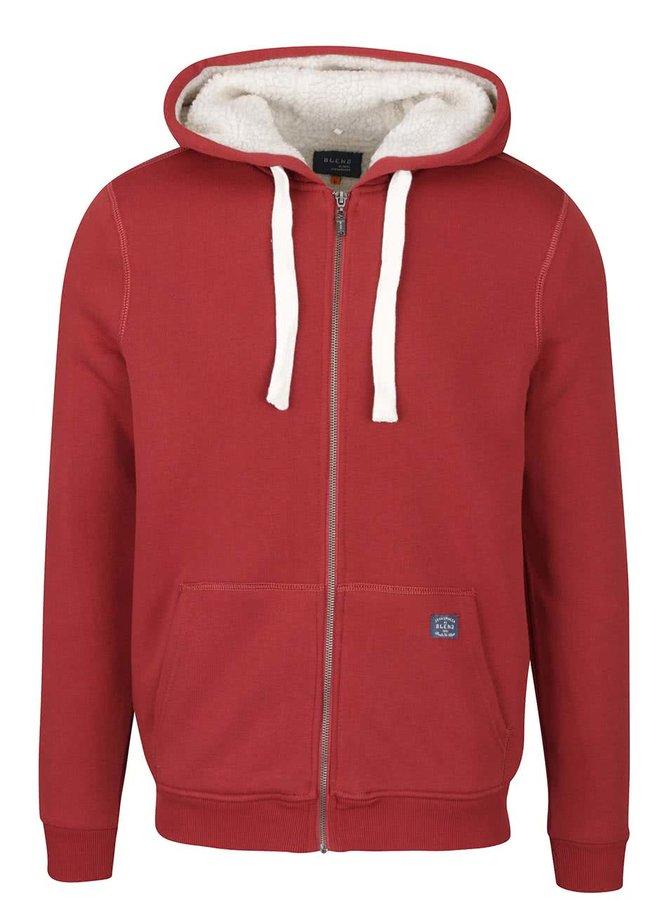 Červená mikina na zip s kapucí Blend