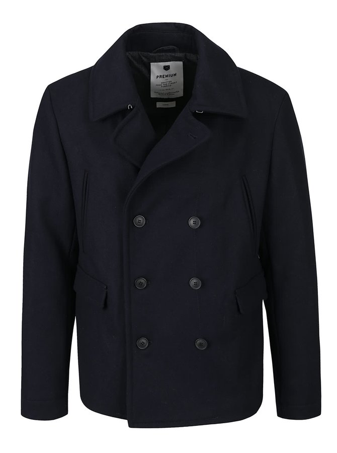 Tmavomodrý krátky kabát s prímesou vlny Jack & Jones Tiverton
