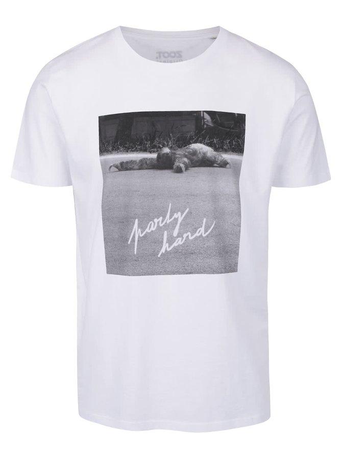 Tricou alb cu imprimeu ZOOT Original Party hard pentru bărbați