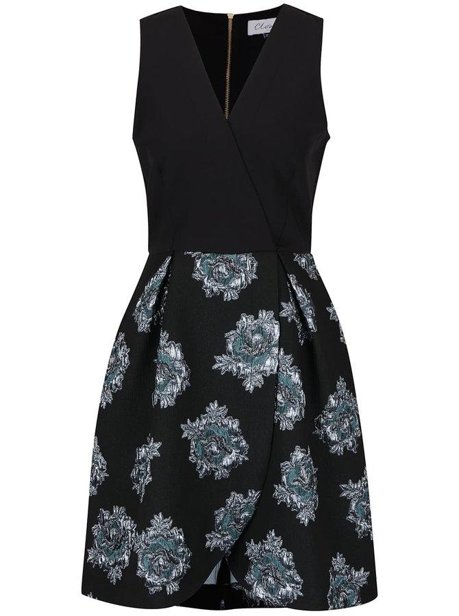 Rochie neagră Closet din brocart cu imprimeu